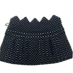 Vintage Beaded Clutch Purse Belt Bag Black Beads Czechoslovakia Unique