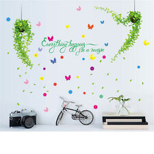 Green Leaves Butterfly Room Home Decor Removable Wall Stickers Decals Decoration