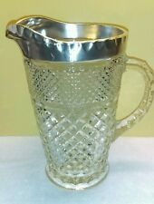 Vintage Heavyweight Glass Water Picture with Silver Plate Hand Wrought Rim