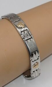 Men's Stainless Steel 18k Yellow Gold Medusa Head Greek Key Link Bracelet 10MM