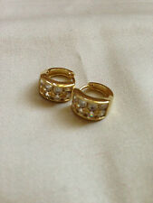 18k Gold Filled Luxury  Huggies Earrings with Cubic Zirconia