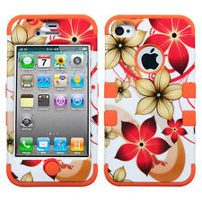 For iPhone 4 4S Rubber IMPACT TUFF HYBRID Skin Case Phone Cover Red Flower
