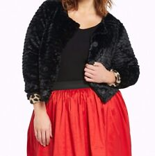 Torrid Cropped Faux Fur Jacket Black 2X 18 20 2 #34684