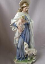 14 Inch Keramos Glass Porcelain Madonna Child Lamb Wien Austria Vienna