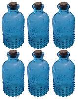 Dekoflasche 6 Stück blau Glasflasche Vintage Landhaus Likörflasche Korkengläser