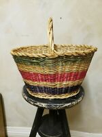 Vintage Large & Deep Oval Wicker Woven Easter Striped Sturdy Basket with Handle