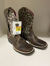 ARIAT NWT Girls Size 3.5 Leopard Pink Brown Leather Western Cowboy Cowgirl Boots