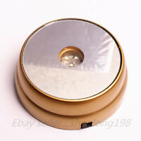 """New 3 LED White Light Round Display Stand Base Crystal Ball Paperweight Gold  3"""""""