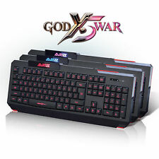 Ajazz The Dark Kinght Backlit Ergonomic Gaming Keyboard Blue/Purple/Red LEDs UK