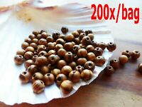 200pcs Natural BurlyWood Brown Beads Wooden Round Bead 8mm Craft Supplies Wood/E