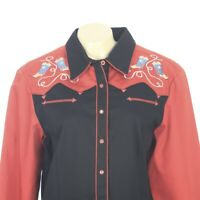 Rough Rider Black Red Embroidered Boots Pearl Snap Western Shirt Womens Large
