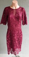 💜 REVIEW Cocktail Lace Sheath Dress Cherry Size 10 Buy7=FreePost L823
