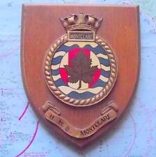 Old Oak HMS Montclare Hand Painted Royal Navy Ship Crest Shield Plaque