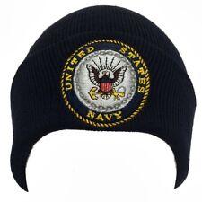Blue United States US Navy Naval USN Logo Long Cuff Winter Knit Beanie Beanies