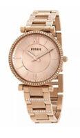 Fossil Ladies Carlie Quartz Rose Dial Watch - ES4301 NEW