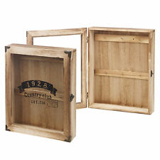Wooden Wall Mounted Key Storage Cabinet Holder Cupboard 6 Hooks Glass Door Chic