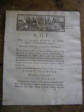 LOI relative à l'organisation des 2 nouvelles divisions de la GENDARMERIE 1792