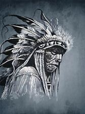 VINTAGE PHOTOGRAPHY NATIVE AMERICAN RED BIRD LARGE POSTER ART PRINT BB3288A