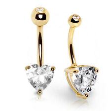 14K Solid GOLD Huge HEART CZ Gem BELLY BUTTON NAVEL Bar RINGS Piercing Jewelry