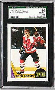 1987-88 TOPPS #139 GREG ADAMS Wash. Capitals Hockey Card GRADED SGC 8.5 NM/MT+