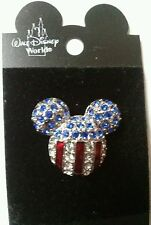 Disney world Crystal Mickey ears  red white blue Crystal pin vintage NOC