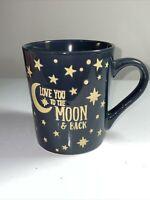 Love You To The Moon And Back Valantina's Coffee Mug. Yellow Moon And Stars