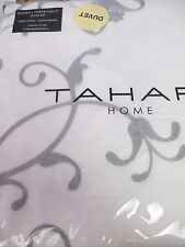 TAHARI Cotton Ivory Soft White Gray Embroidered Floral Duvet Set - Full/Queen