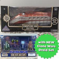 Disney Parks Star Wars Starspeeder 1000 Playset + Clone Wars 4 Droid Factory Set