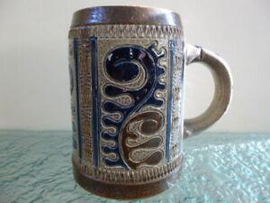 Vintage Stoneware Tankard Stein Mug 0.5L German? Viking Style Pattern No Lid