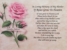 Memory of Mother Sympathy Gift Memorial Day Roses Grow In Heaven Loss of Mom