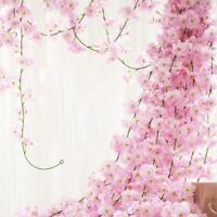 Artificial Silk Fake Hanging Flower Vine Wedding Deco Garland Cherry V6P2
