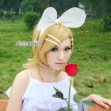 Vocaloid Kagamine Rin Perücke Cosplay Kostüm Gelb Blond 35cm Halloween Wig Damen