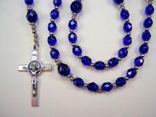 Boys 1st Communion Rosary Cobalt Blue Czech Glass Primera Comunión Rosario