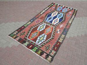 """Turkish Vintage Handmade Wool Rug Colorfull Kilim Floor Carpet Oriental 67""""X133"""""""