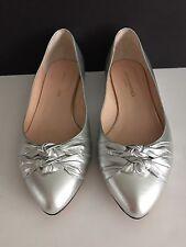 LOEFFLER RANDALL Women's Shoes Silver MILLIE KNOT FLAT Size 10 , EUC