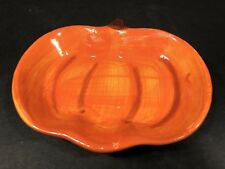 Thanksgiving Fall Decoration Ceramic Pumpkin Small Platter Dish Orange Brown NEW