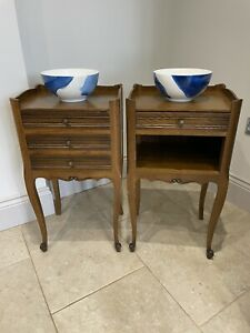 Pair French Oak Bedside Carved Drawers Table Cabinets Unit Night Stands
