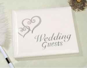 Elegant Wedding Bridal Guest Book Album with Interlocking DOUBLE HEARTS ~ SILVER
