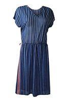 UNBRANDED Vintage 1970s Blue Short Sleeve Pinstripe Dress (M)