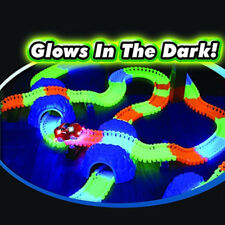 220 Pcs Kids Children Flexible Glow In The Dark Car Race Track Set LED Light UK