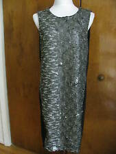 DKNY Women's Black Mink Detailed Lined Evening Dress Size 12 NWT