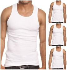 3 Men White Tank Top 100 Cotton A-shirt Wife Beater Ribbed Undershirt Size S-2x Large