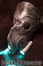 Leather art  warrior LED light up Steampunk gas mask - Halloween comiccon robot