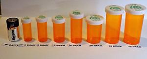 Plastic Prescription Vials/Bottles 25 Pack w/Caps 8 Dram Size