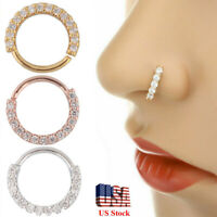 10x Nose Ring Earring Hoop Helix Cartilage Crystal Stainless Steel Body Piercing
