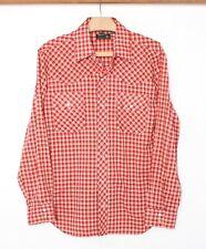 Vintage Jc Penney Red Plaid Snap Button Front Western Shirt Sz. M