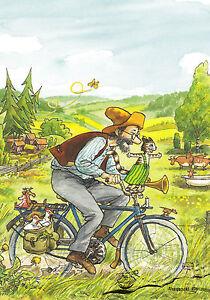 Postkarte: Nordqvist -  Pettersson und Findus auf dem Fahrrad