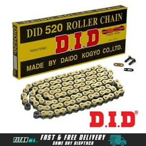 DID Gold & Black Motorcycle Chain 520 120 Link with split link Motocross YZ KTM
