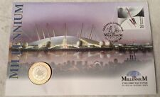 Millennium FDC Plata/Oro Placa £ 2 moneda y 1st Millennium sello la hora normal""""