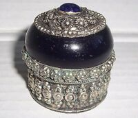 Ornate Silver Toned Metal Hinged Ring Trinket Box w/Glass Cobalt BlueCabochons